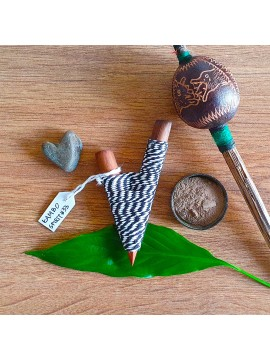 Kuripe Traditional Handmade Rapé Snuff Self Applicator Pipe Black String