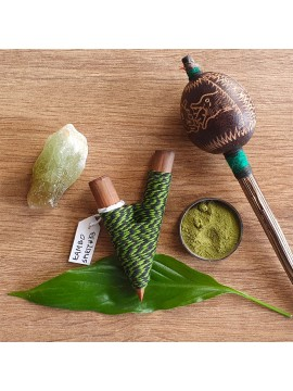 Kuripe Traditional Handmade Rapé Snuff Self Applicator Pipe Green String