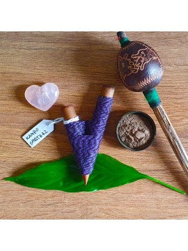 Kuripe Traditional Handmade Rapé Snuff Self Applicator Pipe Purple String